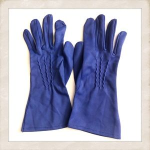 Vintage Mod Blue Gloves, Size 7 - 7.5
